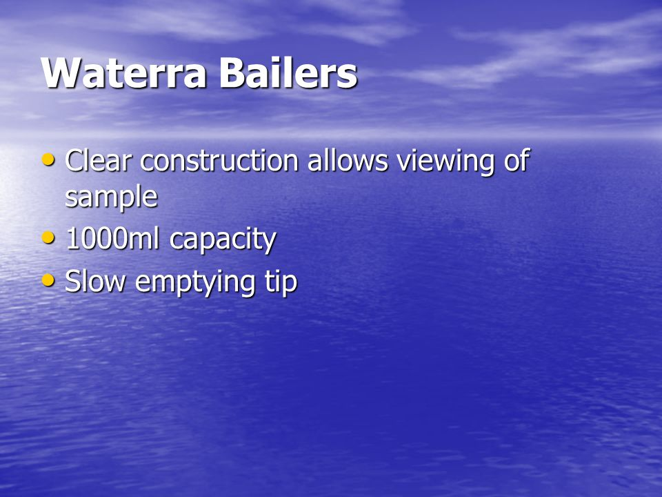 Waterra Bailers Clear construction allows viewing of sample 1000ml capacity Slow emptying tip