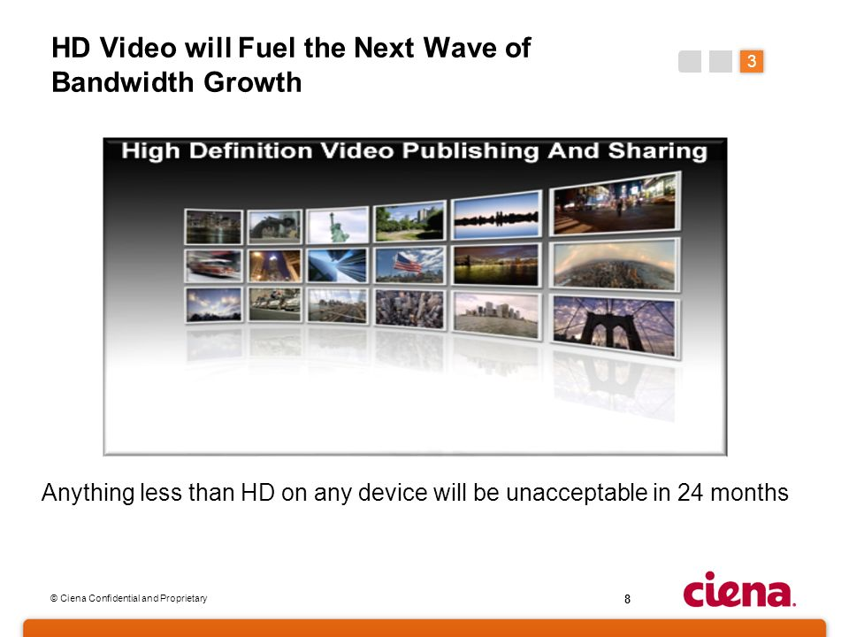 © Ciena Confidential and Proprietary 8 HD Video will Fuel the Next Wave of Bandwidth Growth Anything less than HD on any device will be unacceptable i