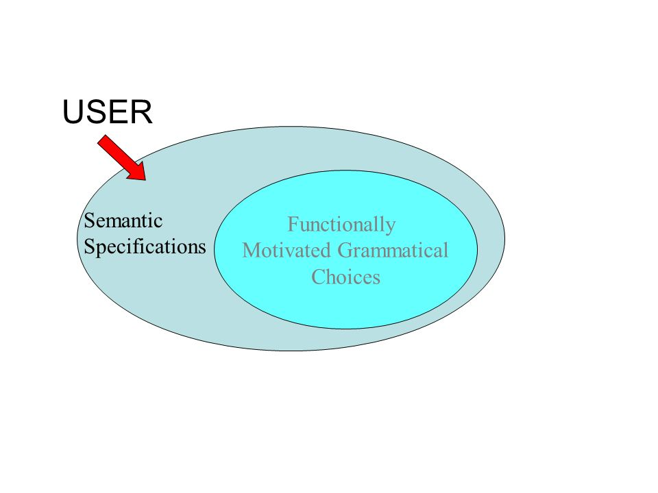 Functionally Motivated Grammatical Choices USER Semantic Specifications