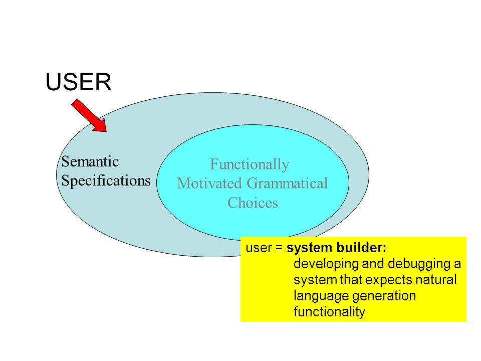 Functionally Motivated Grammatical Choices USER user = system builder: developing and debugging a system that expects natural language generation func