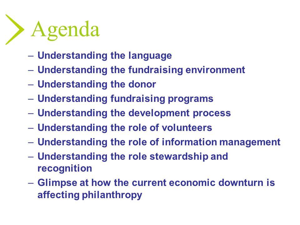 Agenda –Understanding the language –Understanding the fundraising environment –Understanding the donor –Understanding fundraising programs –Understand