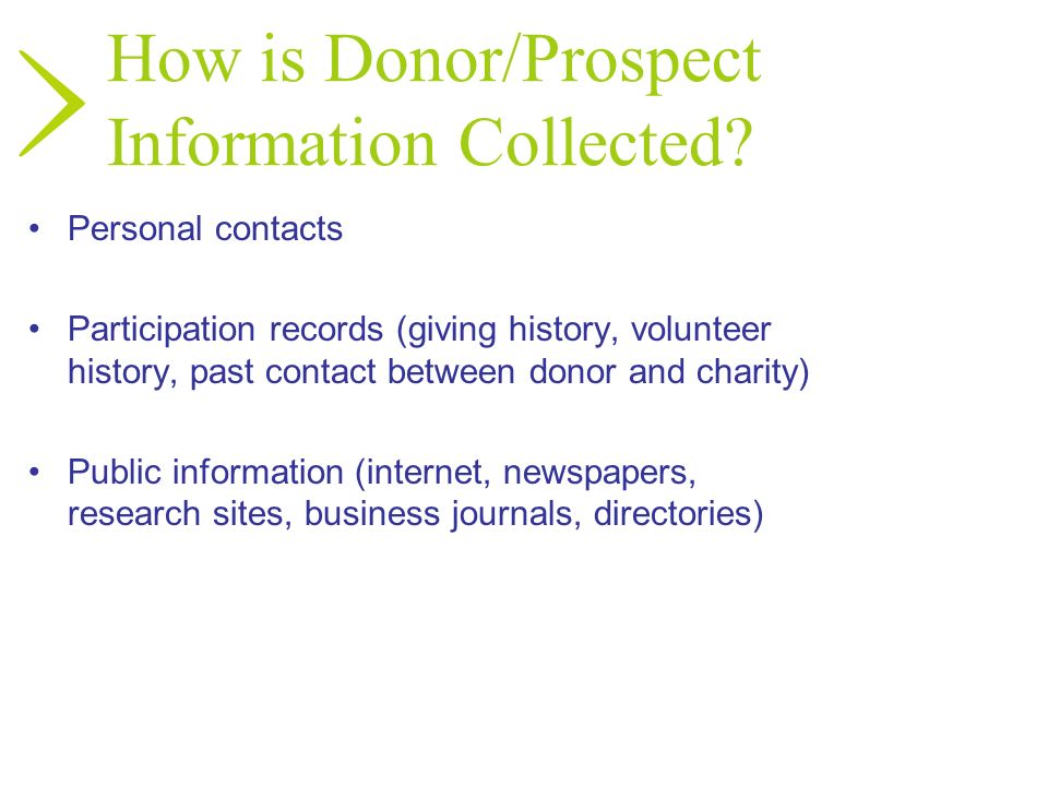 How is Donor/Prospect Information Collected? Personal contacts Participation records (giving history, volunteer history, past contact between donor an
