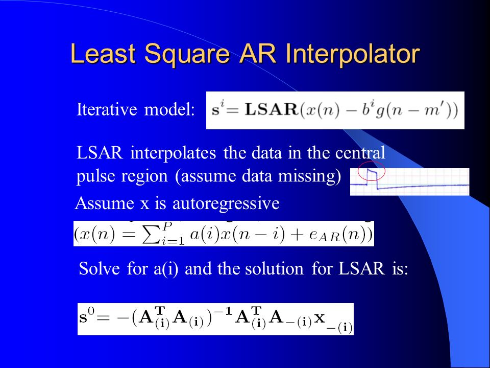 Removal of Noise Pulses with AR Template Interpolator LSAR interpolates the data in the central pulse region (assume data missing) Iterative model: s(