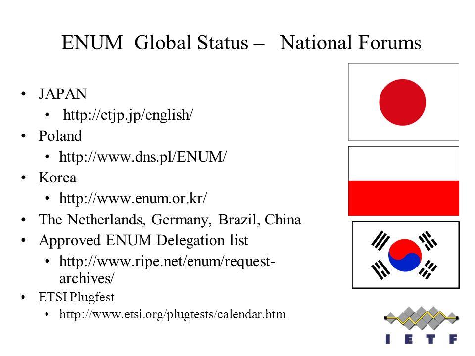 ENUM Global Status – National Forums JAPAN http://etjp.jp/english/ Poland http://www.dns.pl/ENUM/ Korea http://www.enum.or.kr/ The Netherlands, German