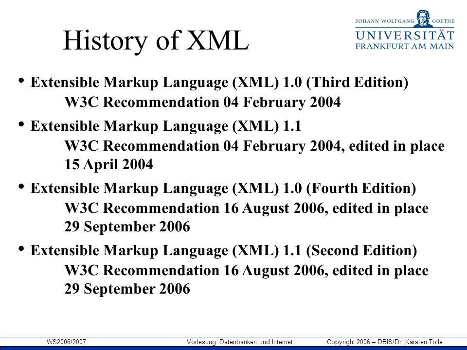 WS2006/2007 Vorlesung: Datenbanken und Internet Copyright 2006 – DBIS/Dr. Karsten Tolle History of XML Extensible Markup Language (XML) 1.0 (Third Edi