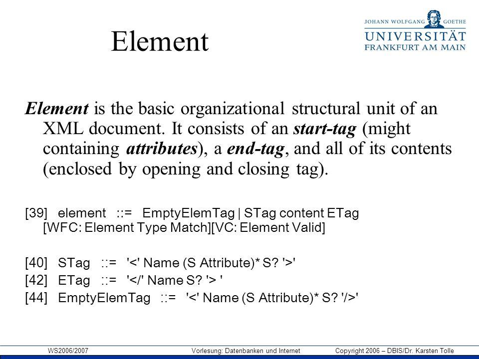WS2006/2007 Vorlesung: Datenbanken und Internet Copyright 2006 – DBIS/Dr. Karsten Tolle Element Element is the basic organizational structural unit of