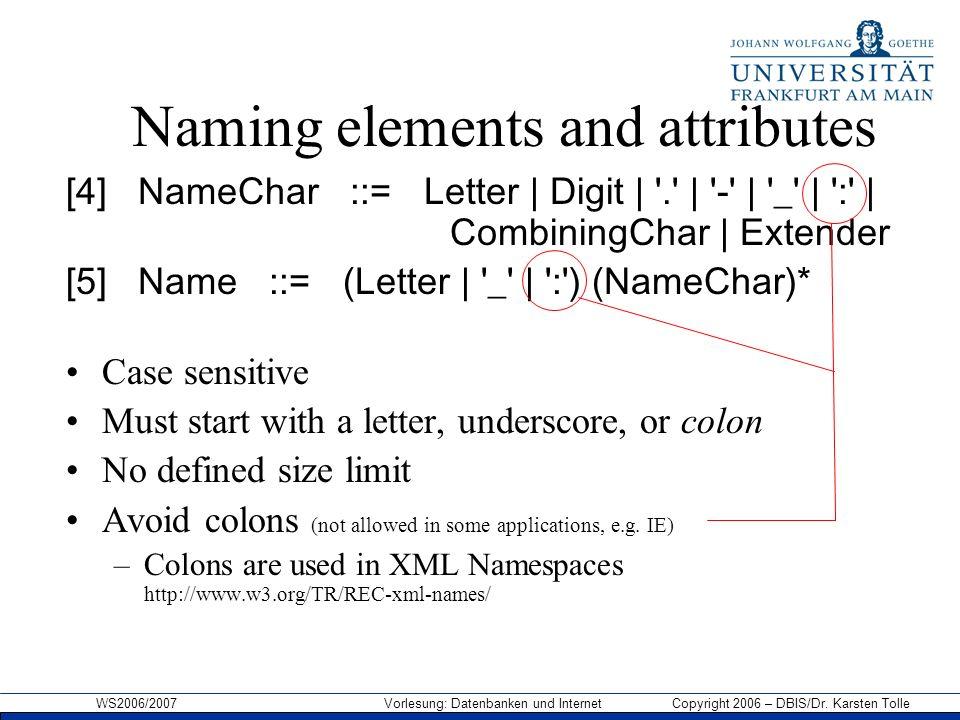 WS2006/2007 Vorlesung: Datenbanken und Internet Copyright 2006 – DBIS/Dr. Karsten Tolle Naming elements and attributes [4] NameChar ::= Letter | Digit