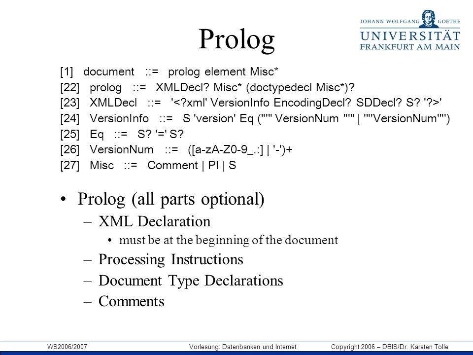 WS2006/2007 Vorlesung: Datenbanken und Internet Copyright 2006 – DBIS/Dr. Karsten Tolle Prolog [1] document ::= prolog element Misc* [22] prolog ::= X
