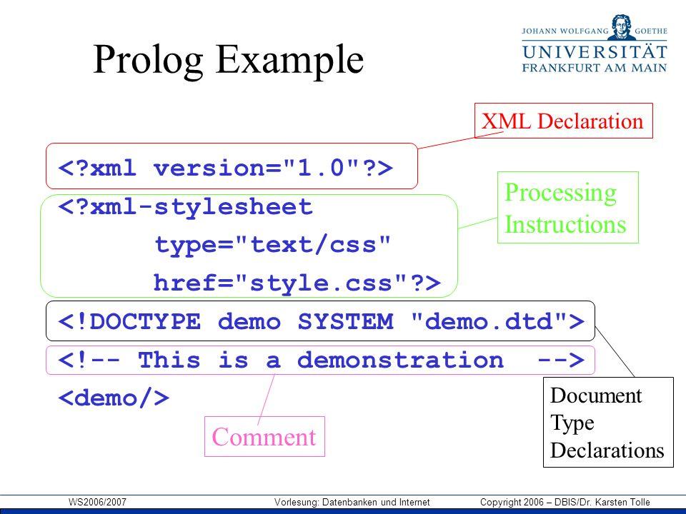 WS2006/2007 Vorlesung: Datenbanken und Internet Copyright 2006 – DBIS/Dr. Karsten Tolle Prolog Example <?xml-stylesheet type=
