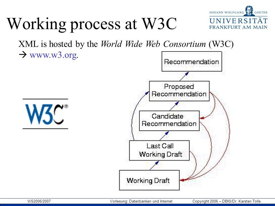WS2006/2007 Vorlesung: Datenbanken und Internet Copyright 2006 – DBIS/Dr. Karsten Tolle Working process at W3C XML is hosted by the World Wide Web Con