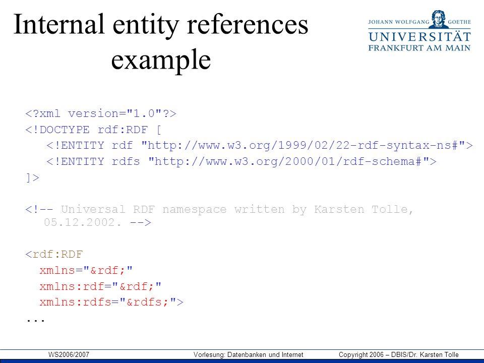 WS2006/2007 Vorlesung: Datenbanken und Internet Copyright 2006 – DBIS/Dr. Karsten Tolle Internal entity references example <!DOCTYPE rdf:RDF [ ]> <rdf