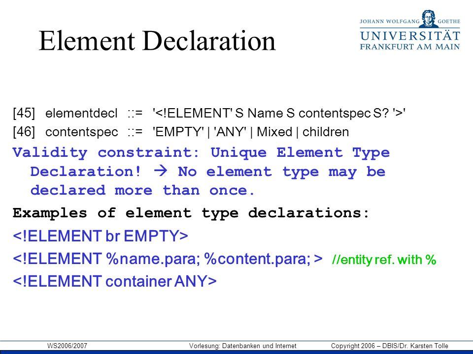 WS2006/2007 Vorlesung: Datenbanken und Internet Copyright 2006 – DBIS/Dr. Karsten Tolle Element Declaration [45] elementdecl ::= ' ' [46] contentspec