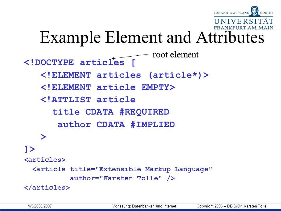 WS2006/2007 Vorlesung: Datenbanken und Internet Copyright 2006 – DBIS/Dr. Karsten Tolle Example Element and Attributes <!DOCTYPE articles [ <!ATTLIST