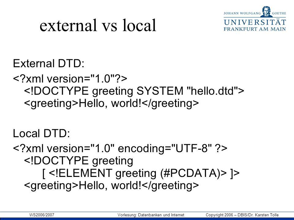 WS2006/2007 Vorlesung: Datenbanken und Internet Copyright 2006 – DBIS/Dr. Karsten Tolle external vs local External DTD: Hello, world! Local DTD: ]> He