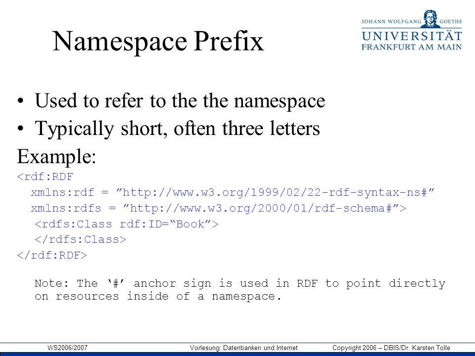 WS2006/2007 Vorlesung: Datenbanken und Internet Copyright 2006 – DBIS/Dr. Karsten Tolle Namespace Prefix Used to refer to the the namespace Typically