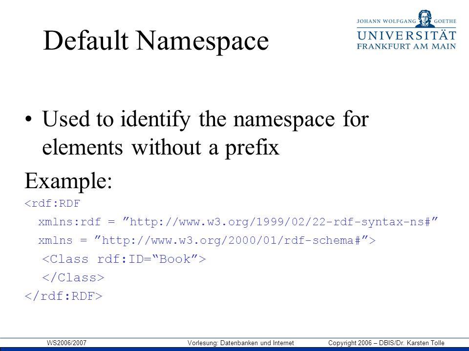 WS2006/2007 Vorlesung: Datenbanken und Internet Copyright 2006 – DBIS/Dr. Karsten Tolle Default Namespace Used to identify the namespace for elements