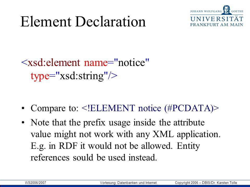 WS2006/2007 Vorlesung: Datenbanken und Internet Copyright 2006 – DBIS/Dr. Karsten Tolle Element Declaration Compare to: Note that the prefix usage ins