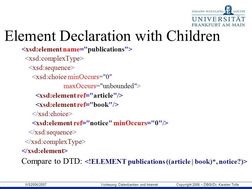 WS2006/2007 Vorlesung: Datenbanken und Internet Copyright 2006 – DBIS/Dr. Karsten Tolle Element Declaration with Children <xsd:choice minOccurs=