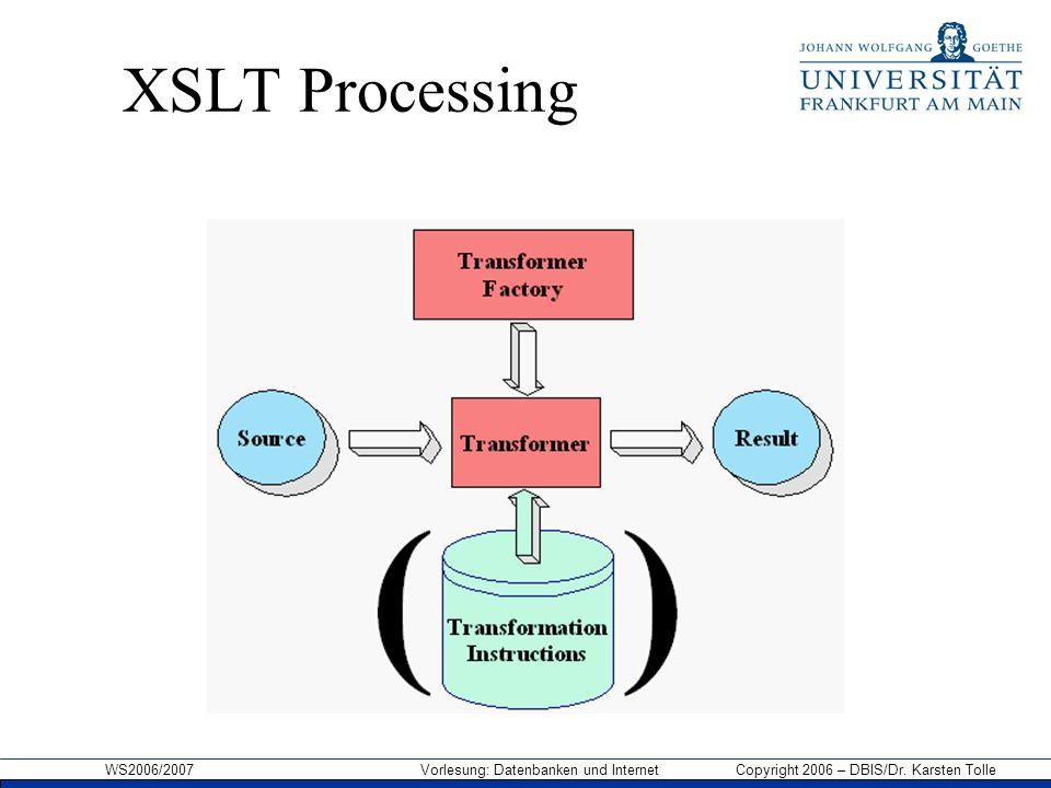 WS2006/2007 Vorlesung: Datenbanken und Internet Copyright 2006 – DBIS/Dr. Karsten Tolle XSLT Processing