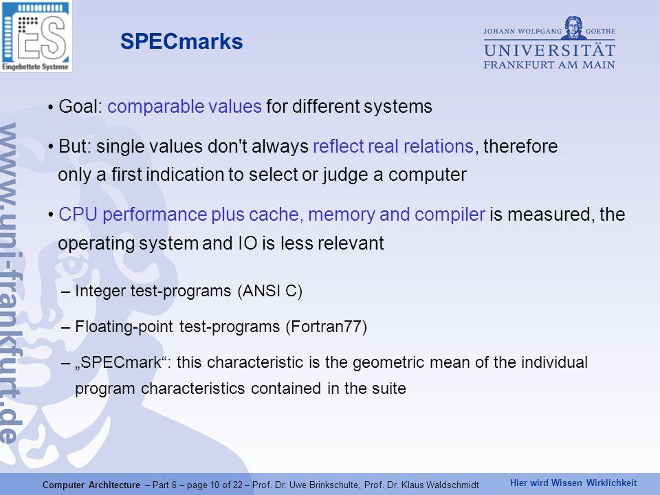 Hier wird Wissen Wirklichkeit Computer Architecture – Part 6 – page 10 of 22 – Prof.