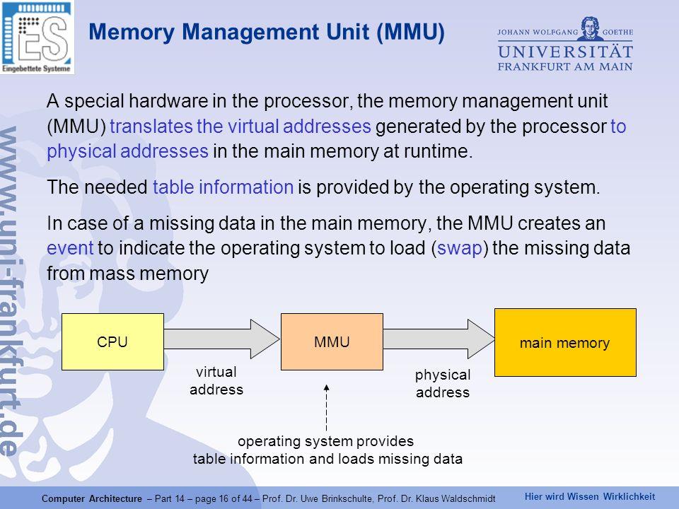 Hier wird Wissen Wirklichkeit Computer Architecture – Part 14 – page 16 of 44 – Prof. Dr. Uwe Brinkschulte, Prof. Dr. Klaus Waldschmidt Memory Managem
