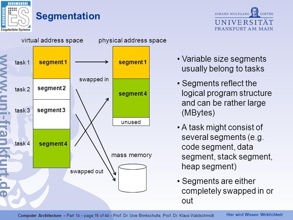Hier wird Wissen Wirklichkeit Computer Architecture – Part 14 – page 18 of 44 – Prof. Dr. Uwe Brinkschulte, Prof. Dr. Klaus Waldschmidt Segmentation p