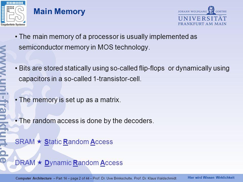 Hier wird Wissen Wirklichkeit Computer Architecture – Part 14 – page 2 of 44 – Prof. Dr. Uwe Brinkschulte, Prof. Dr. Klaus Waldschmidt Main Memory The