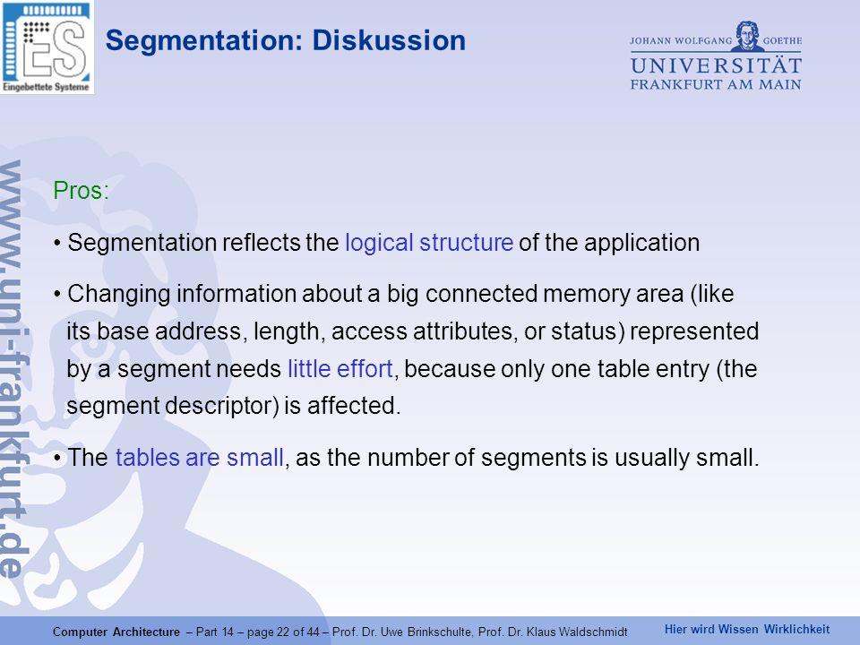 Hier wird Wissen Wirklichkeit Computer Architecture – Part 14 – page 22 of 44 – Prof. Dr. Uwe Brinkschulte, Prof. Dr. Klaus Waldschmidt Segmentation: