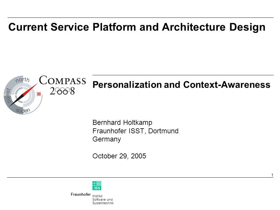 Institut Software- und Systemtechnik Fraunhofer ISS T 2 COMPASS Gross System Architecture