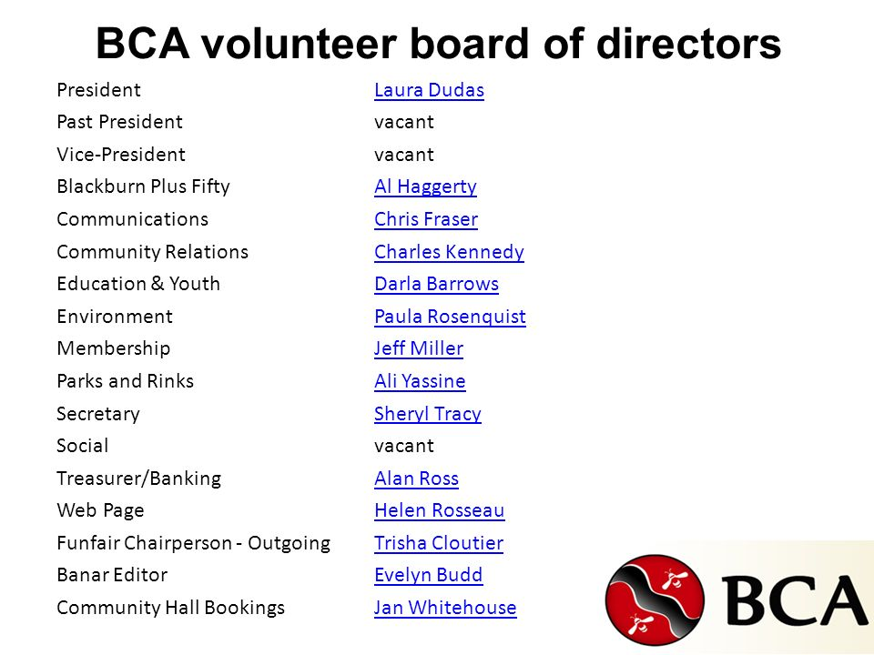 BCA volunteer board of directors PresidentLaura Dudas Past Presidentvacant Vice-Presidentvacant Blackburn Plus FiftyAl Haggerty CommunicationsChris Fr