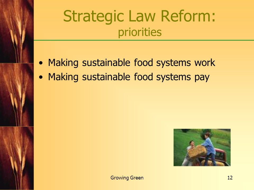 Growing Green12 Making sustainable food systems work Making sustainable food systems pay Strategic Law Reform: priorities