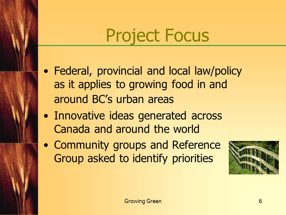 Growing Green17 Strategic Law Reform making sustainable food systems work Attracting small-scale food processors Help develop BC Food and Beverage Processor Association with input from small-scale operators Help develop a pilot regional manufacturing/distribution network Explore regional brands (e.g.