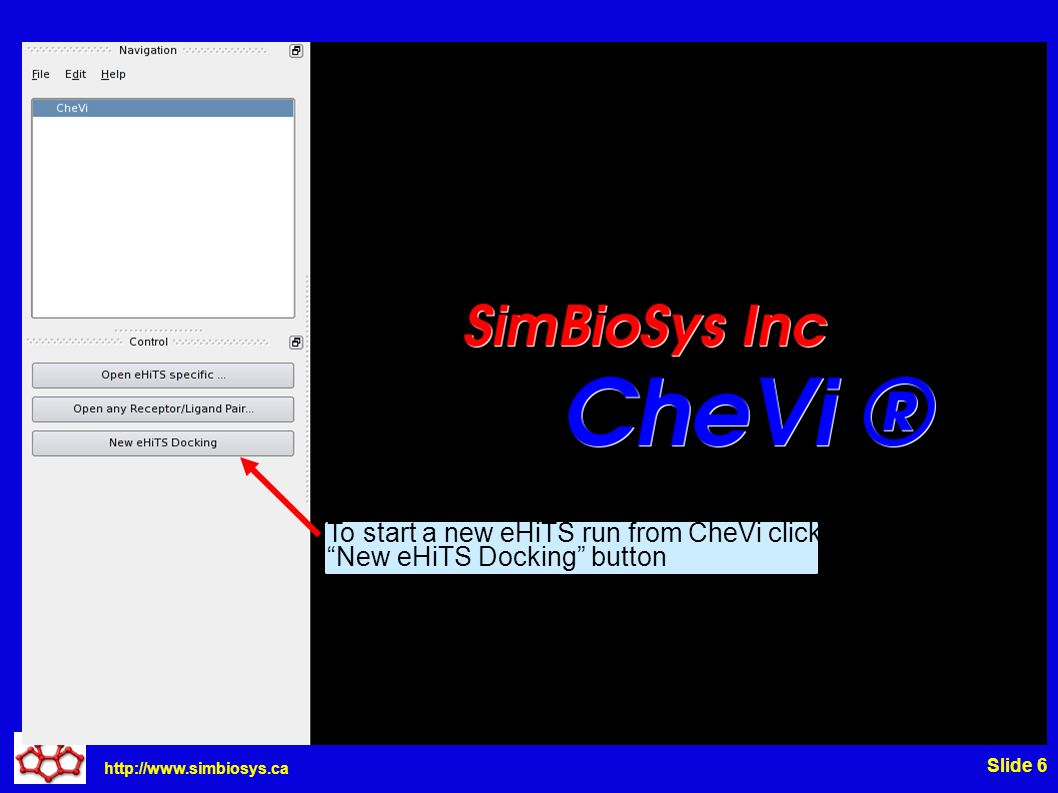 http://www.simbiosys.ca Slide 7 All docking options can be selected via these tabs, this demo will only use the basic -complex option Click the Receptor Browse to select your complex file, 1err.pdb