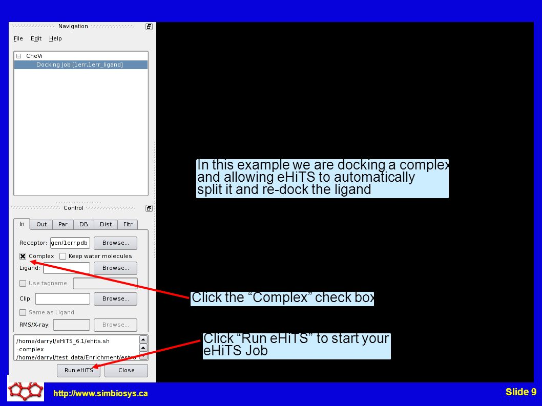http://www.simbiosys.ca Slide 9 In this example we are docking a complex and allowing eHiTS to automatically split it and re-dock the ligand Click the Complex check box Click Run eHiTS to start your eHiTS Job