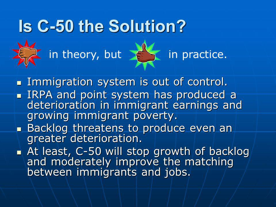 Is C-50 the Solution? Immigration system is out of control. Immigration system is out of control. IRPA and point system has produced a deterioration i