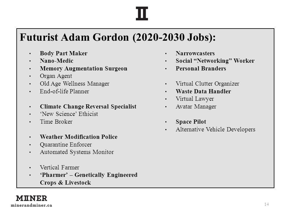 Futurist Adam Gordon (2020-2030 Jobs): 14 Body Part Maker Nano-Medic Memory Augmentation Surgeon Organ Agent Old Age Wellness Manager End-of-life Plan