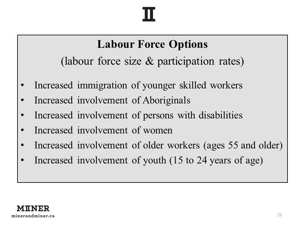 Labour Force Options (labour force size & participation rates) Increased immigration of younger skilled workers Increased involvement of Aboriginals I