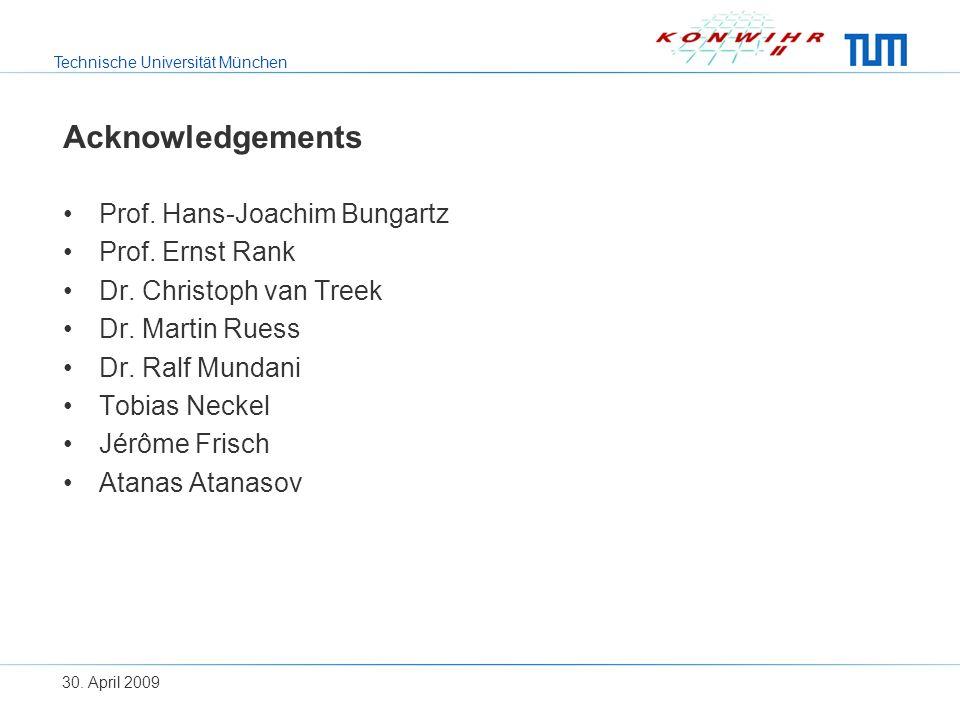 Technische Universität München 30. April 2009 Acknowledgements Prof.