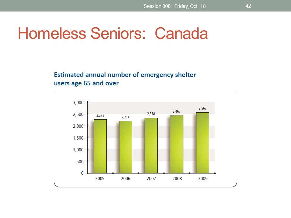 Homeless Seniors: Canada Session 308: Friday, Oct. 18 42
