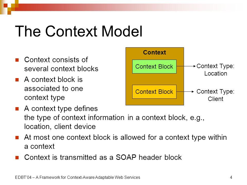 EDBT04 – A Framework for Context-Aware Adaptable Web Services4 The Context Model Context consists of several context blocks A context block is associa