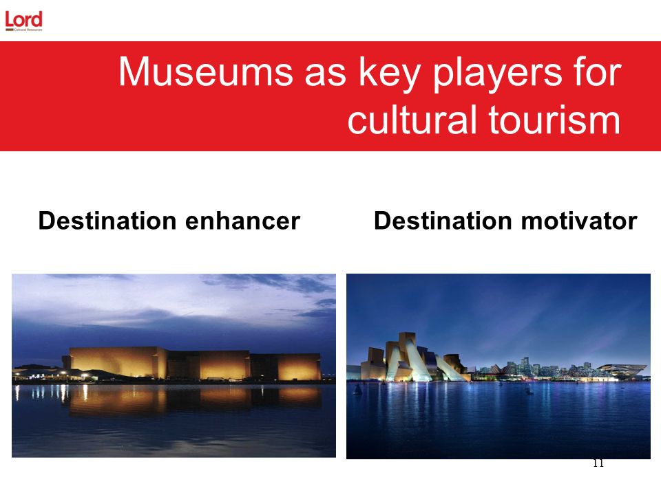 Destination motivator 11 Museums as key players for cultural tourism Destination enhancer