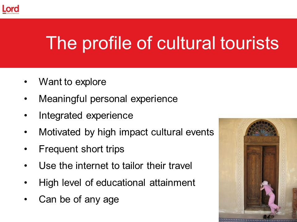 15 The profile of cultural tourists Want to explore Meaningful personal experience Integrated experience Motivated by high impact cultural events Freq