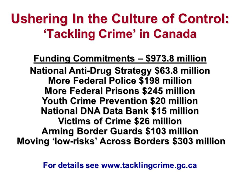 Ushering In the Culture of Control: Tackling Crime in Canada Funding Commitments – $973.8 million National Anti-Drug Strategy $63.8 million More Federal Police $198 million More Federal Prisons $245 million Youth Crime Prevention $20 million National DNA Data Bank $15 million Victims of Crime $26 million Arming Border Guards $103 million Moving low-risks Across Borders $303 million For details see www.tacklingcrime.gc.ca