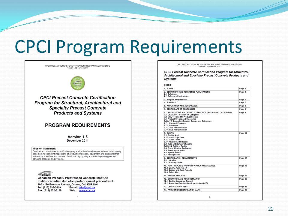 CPCI Program Requirements 22