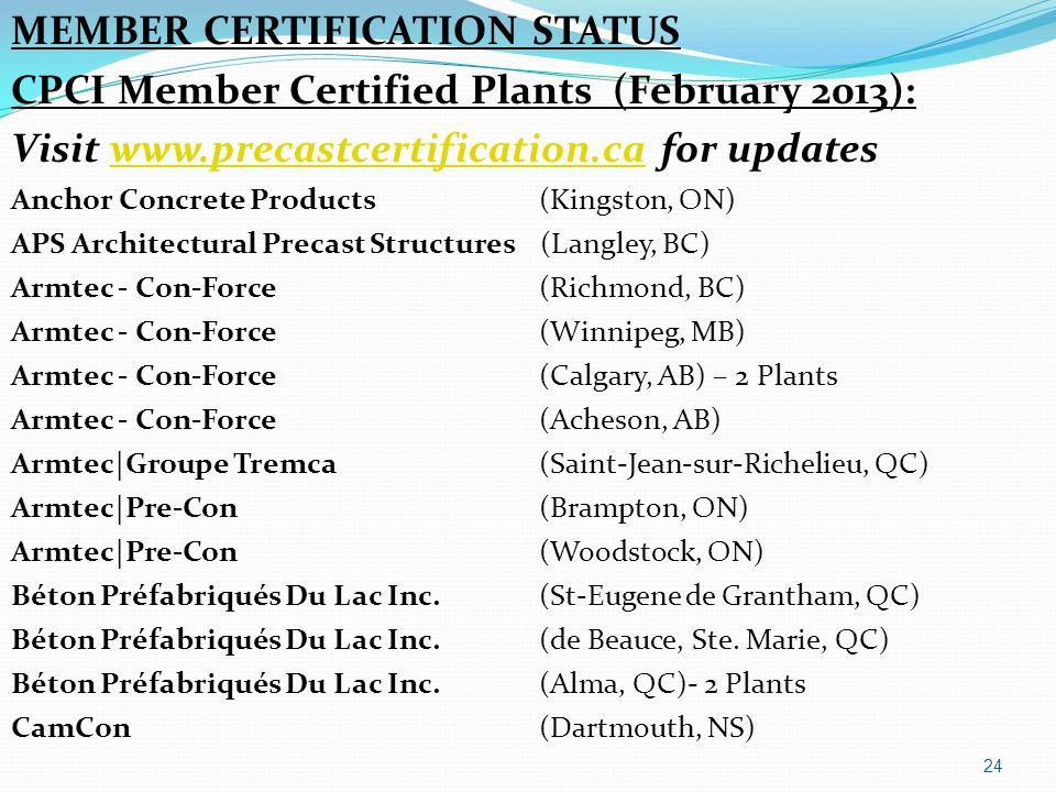MEMBER CERTIFICATION STATUS CPCI Member Certified Plants (February 2013): Visit www.precastcertification.ca for updateswww.precastcertification.ca Anc