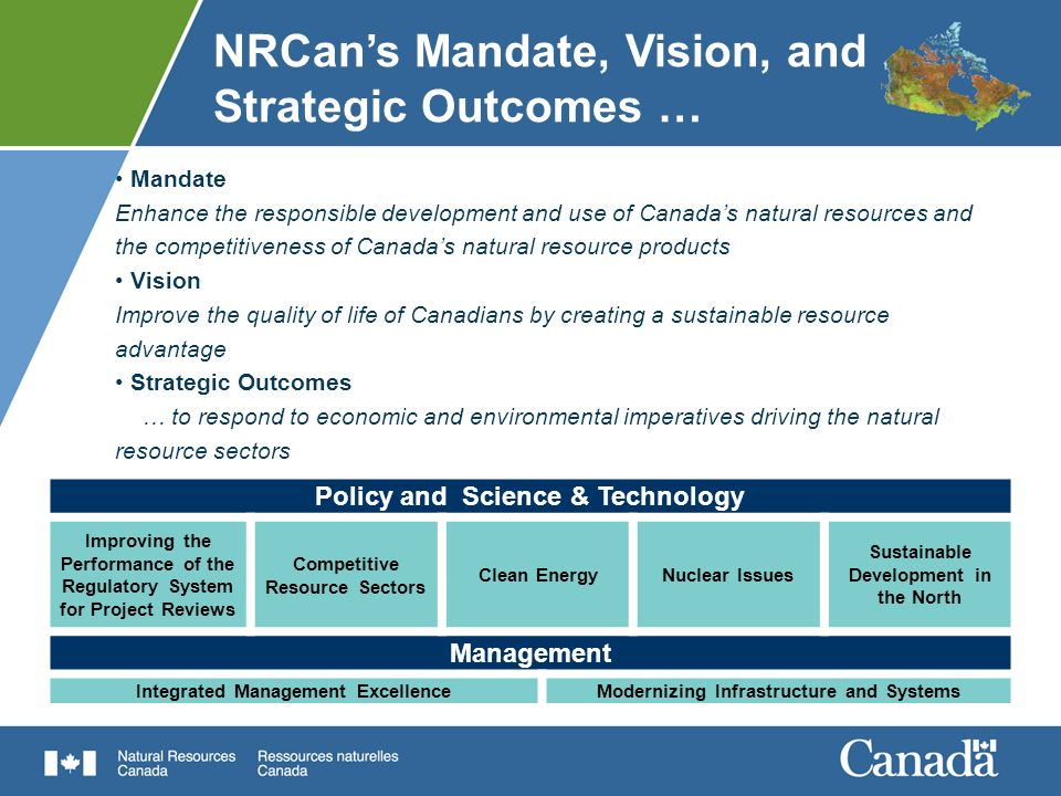 NRCans priorities continue to support Governments agenda SFT CommitmentsNRCan Priorities New measures that Canada needs to succeed in a modern economy Improve the performance of the regulatory system for project reviews Build the jobs and industries of the future Competitive resource sectors Secure Canadas place as a clean energy superpower and leader in green jobs Clean energy Nuclear issues Realize the vast potential of Canadas North Sustainable resource development in the North We must combine the best of our intellectual and natural resources to create jobs, growth and opportunity Speech from the Throne, March 2010