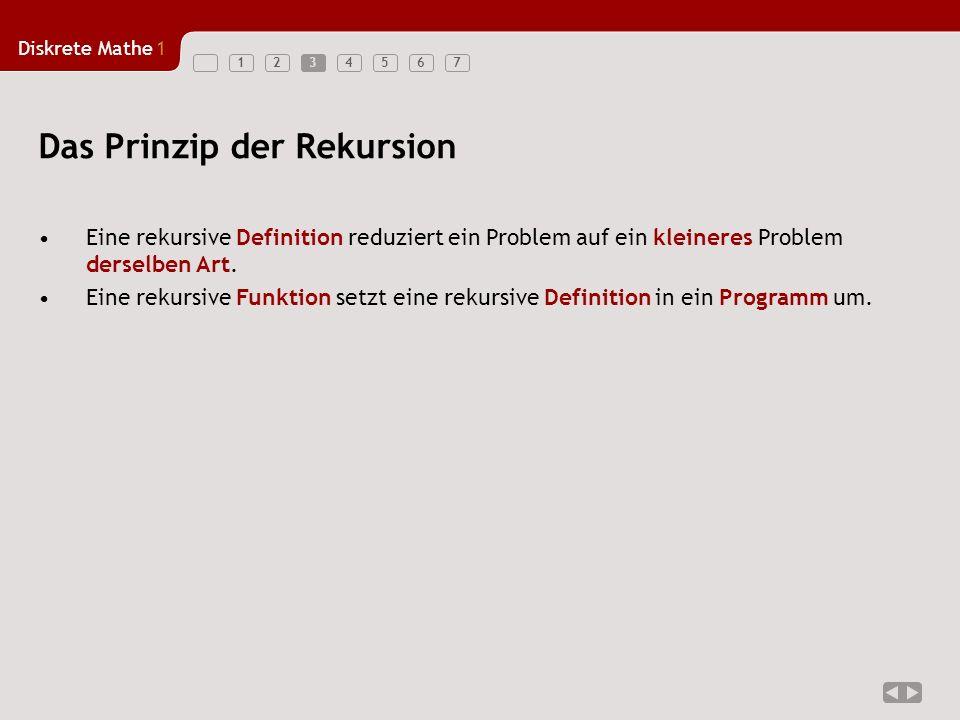 Diskrete Mathe1 1234567 Eine rekursive Definition reduziert ein Problem auf ein kleineres Problem derselben Art. Eine rekursive Funktion setzt eine re