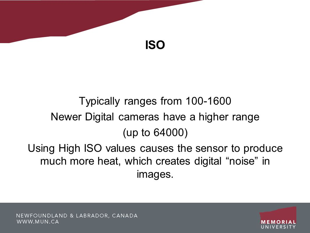 ISO Typically ranges from 100-1600 Newer Digital cameras have a higher range (up to 64000) Using High ISO values causes the sensor to produce much mor