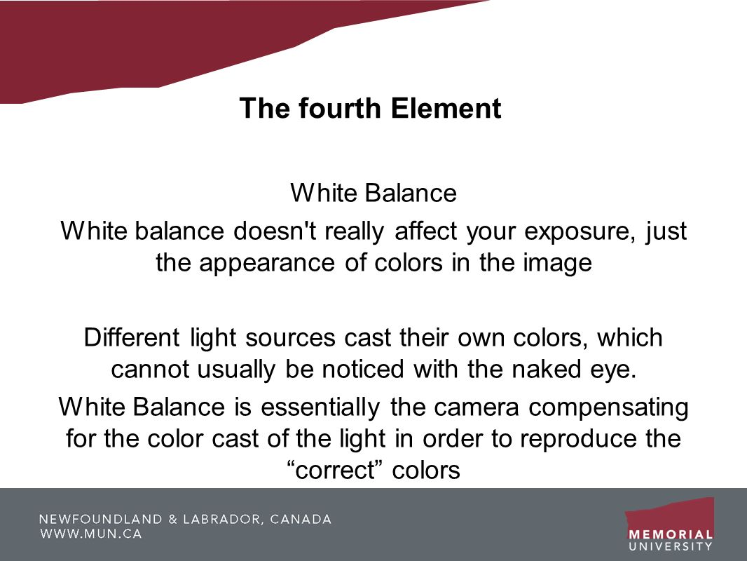 The fourth Element White Balance White balance doesn't really affect your exposure, just the appearance of colors in the image Different light sources