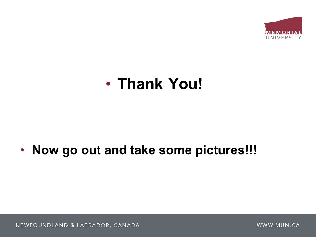 Thank You! Now go out and take some pictures!!!
